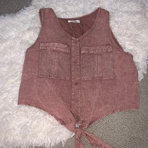 Vestique Crop Top, Button Down, Pink, Small